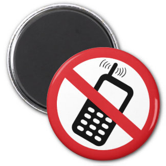 No Cell Phones 2 Inch Round Magnet