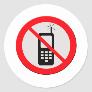 No cellphones round sticker