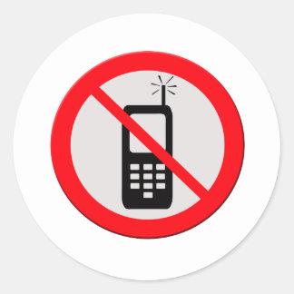 No cellphones round stickers