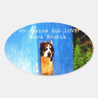 no chains ALL LOVE Nova Scotia rescue Oval Sticker