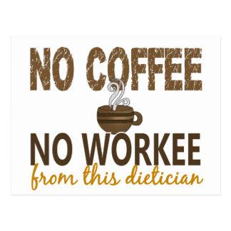 No Coffee No Workee Dietician Postcard