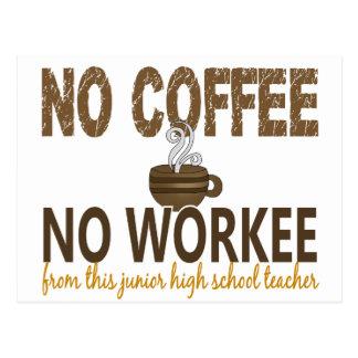 No Coffee No Workee Junior High School Teacher Postcard
