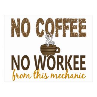 No Coffee No Workee Mechanic Postcard