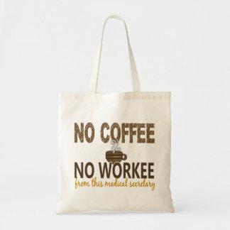 No Coffee No Workee Medical Secretary Tote Bags