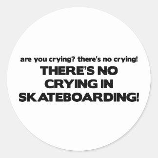 No Crying - Skateboarding Round Sticker