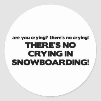 No Crying - Snowboarding Round Sticker