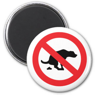 No dog poop sign funny sarcastic 2 inch round magnet