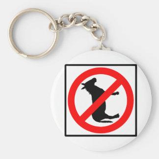No Donkeys Highway Sign Keychain