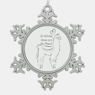 No Drama for this llama Snowflake Pewter Christmas Ornament