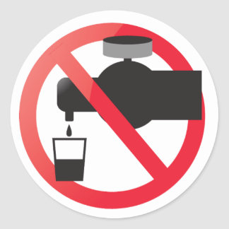 No drinking from the tap round sticker