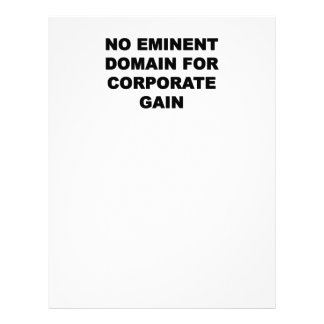 No Eminent Domain for Corporate Gain Letterhead