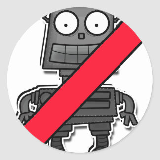 NO ENTRY! For Robots Classic Round Sticker