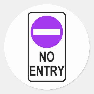 No Entry Road Sign Traffic Cartoon Graphic Design Round Sticker