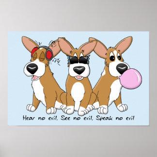No Evil Corgi Trio Poster