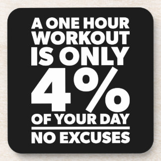 No Excuses - A One Our Workout Is 4% Of Your Day Coaster