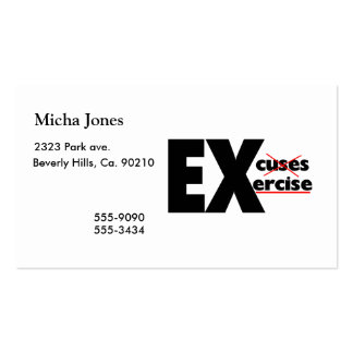 No Excuses Just Exercise Business Card