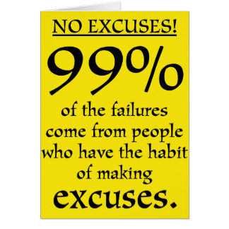 No excuses! Motivational note card