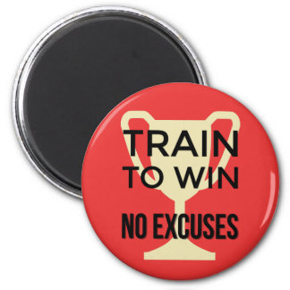 No excuses sports training motivational red 2 inch round magnet