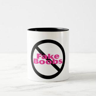 No Fake Boobs Two-Tone Coffee Mug