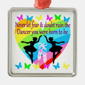 NO FEAR JUST FAITH DANCER DREAMS Silver-Colored SQUARE ORNAMENT