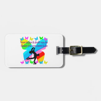 NO FEAR JUST FAITH FIGURE SKATING BUTTERFLY DESIGN LUGGAGE TAG