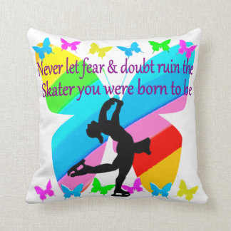 NO FEAR JUST FAITH FIGURE SKATING BUTTERFLY DESIGN THROW PILLOW