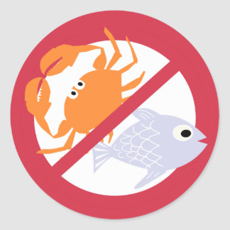 No Fish or Shellfish Symbol Red Allergen Alert Round Sticker