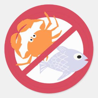 No Fish or Shellfish Symbol Red Allergen Alert Round Sticker