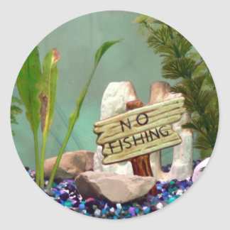 No Fishing Classic Round Sticker