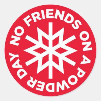 No Friends on a Powder Day Sticker (white graphic)