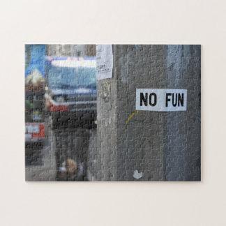 NO FUN Pole Graffiti Urban Photography New York NY Jigsaw Puzzle
