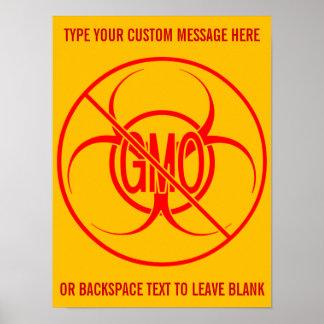 No GMO Poster Biohazard Personalized No GMO Signs