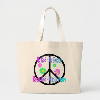 No God No Peace, Know God Know Peace gift Large Tote Bag