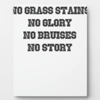 No Grass Stains, No Glory, No Bruises, No Story Plaque