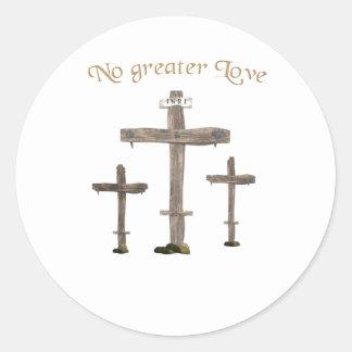 no greater love classic round sticker