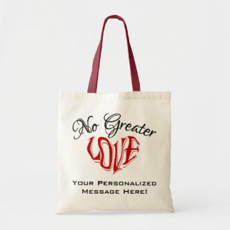 """""""No Greater Love"""" Personalized Light-Colored Tote Canvas Bags"""