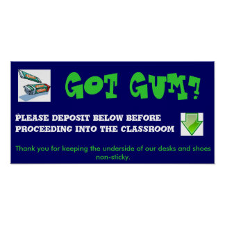No gum chewing poster