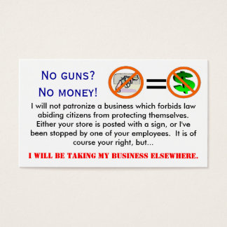 No guns = No money business card
