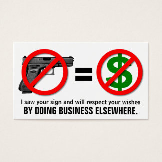 """No Guns, No Money"" Customizable Business Card"