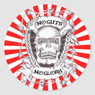 no guts no glory classic round sticker