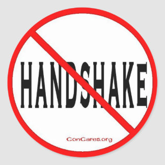 No Handshake-3 Inch Sticker-Sheet of 6 Classic Round Sticker