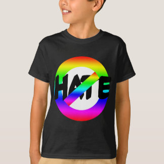 No Hate With Rainbow Colors on Tees, Buttons T-Shirt