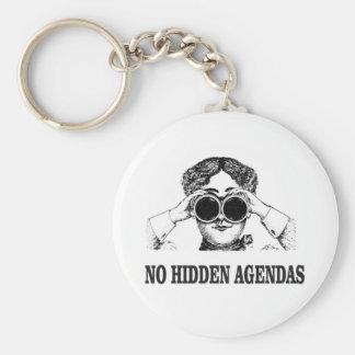 no hidden agendas basic round button keychain