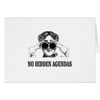 no hidden agendas card