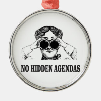 no hidden agendas metal ornament
