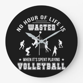 No Hour Wasted When Playing Volleyball Large Clock