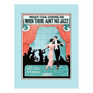 No Jazz 1920s jazz age vintage sheet music cover Postcard