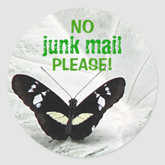 NO, junk mail, PLEASE! Round Sticker