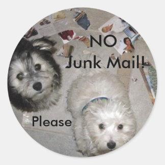 No Junk Mail Puppies Round Sticker