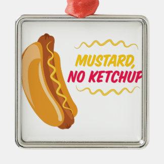 No Ketchup Silver-Colored Square Ornament